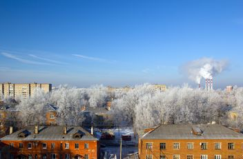 Aerial view on houses and white trees in winter, Podolsk - Free image #347031