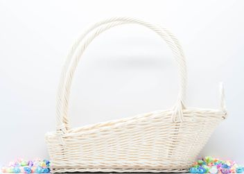 White wicker basket on white background - image gratuit #347241