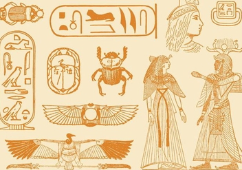 Old Style Drawings Of Egypt - vector gratuit #347431