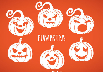 Pumpkin White Icon Vectors - Free vector #347471