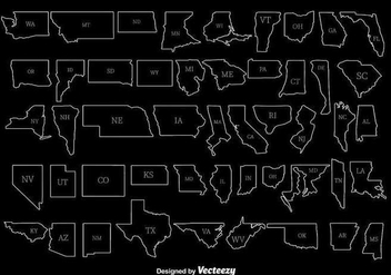 White State Outlines Vectors - Free vector #347581