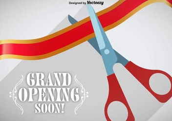 Grand Opening Ribbon Cutting Vector - Free vector #347601