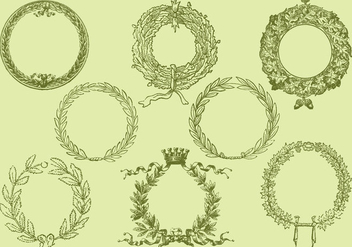 Old Style Drawing Wreath Vectors - vector gratuit #347651