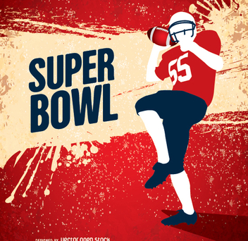 Super Bowl grunge American Football player - бесплатный vector #347681