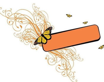 Swirls Butterflies Rectangle Banner - vector gratuit #347851