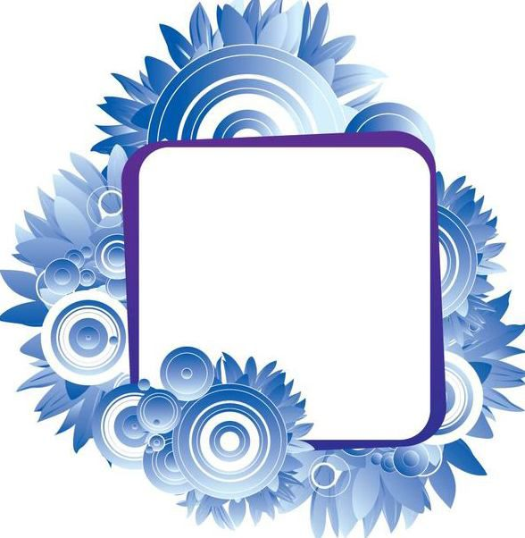 Blue Circles Flower Banner - Free vector #347881