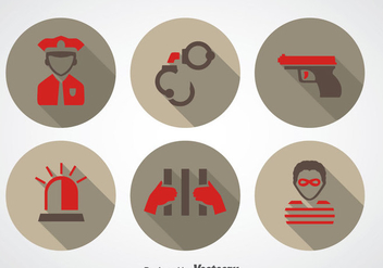 Police And Robber Icons - vector gratuit #348101