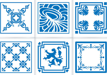 Indigo Blue Tiles Floor Ornament Vectors - Free vector #348191
