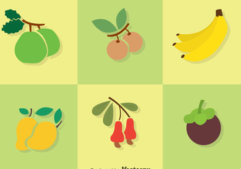 Fruits Flat Colors Icons - vector #348221 gratis