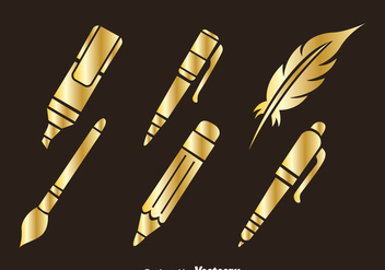 Stationary Golden Icons - vector gratuit #348271