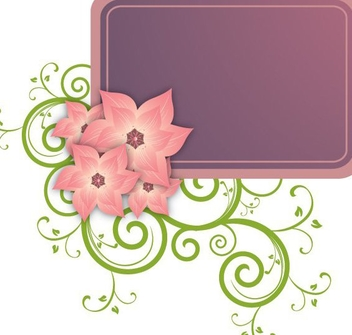 Flower Swirls Rectangle Banner - vector gratuit #348531
