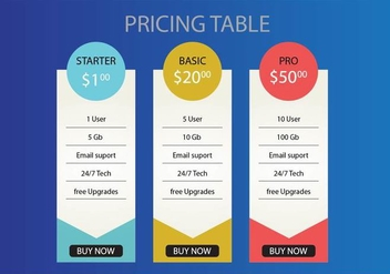 Pricing Table Vector - Kostenloses vector #349041