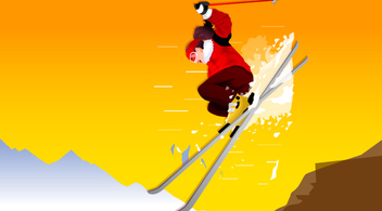Man Jumping Mountain Skiing - vector gratuit #349221