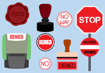 Vector Illustration of Various Denied Stamps - vector gratuit #349361