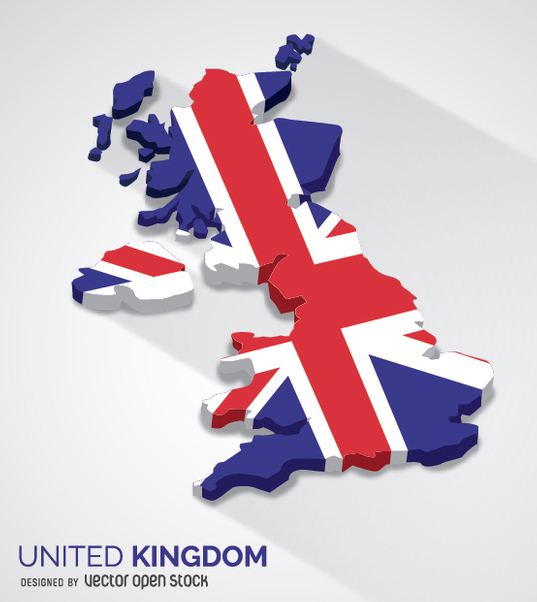 United Kingdom 3d map - Free vector #349391