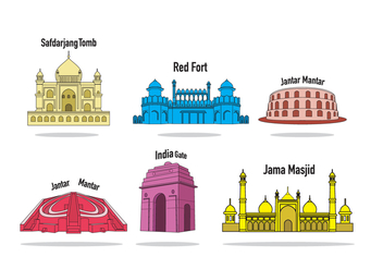 India Landmarks Vector - Free vector #349641