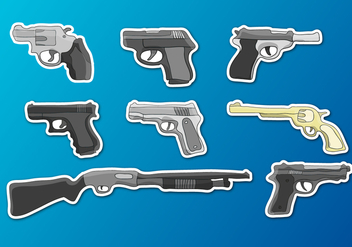 Glock Guns Set Illustrations Vector - Free vector #349751
