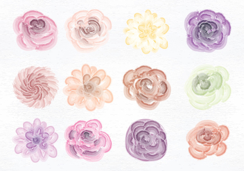 Vector Watercolor Flowers - Free vector #350001