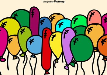 Colorful Cartoon Balloons Vector Background - Free vector #350131