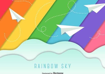 Paper Planes Sky Background - vector gratuit #350481