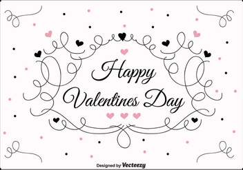 Swirly Valentines Day Vector Background - vector gratuit #350651