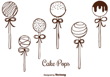 Hand Drawn Cake Pops Vectors - vector gratuit #350701