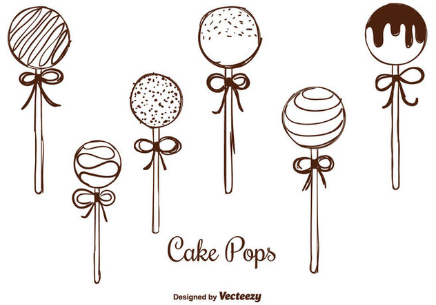 Hand Drawn Cake Pops Vectors - Free vector #350701