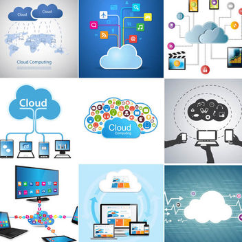Creative Cloud Computing Design Set - vector gratuit #350791