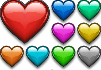 Colorful Shiny Heart Vector Set - Kostenloses vector #350881