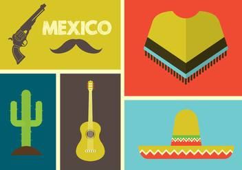 Vector Illustration of Mexican Icons - Free vector #350901