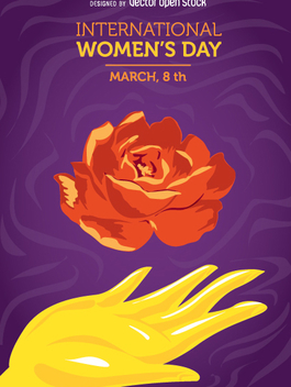 Women's day hand and flower - Free vector #350951