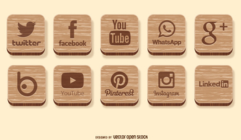 Social media wooden icons - vector gratuit #350961