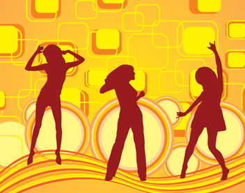 Girls Dancing Squares Background - vector gratuit #351011