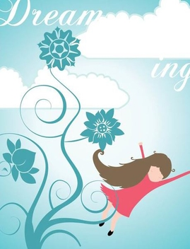 Girl Dreaming Cartoon Background - Free vector #351051