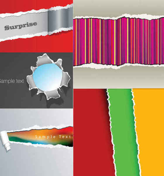 Creative Tear Paper Background Set - Free vector #351101