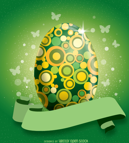 Easter Decorated green Egg - vector gratuit #351421