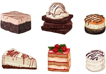 Cake and Dessert Vectors - vector gratuit #351701