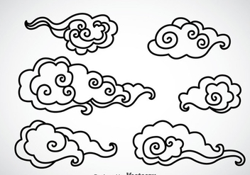 Black Outline Chinese Clouds Vector - бесплатный vector #351961