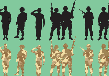 Military Squad Vector Silhouettes - Kostenloses vector #352011
