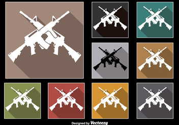 Crossed AR15 Rifle Vectors - vector gratuit #352311