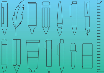 Pens And Tools Line Icons - vector gratuit #352471