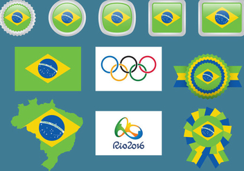 Brazil And Olympic Flags - vector gratuit #352721