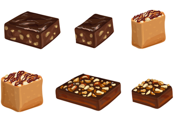 Brownie Vectors and Cakes With Chocolate - vector gratuit #352751