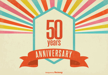 Retro Style Fifty Year Anniversary Vector Illustration - бесплатный vector #352861