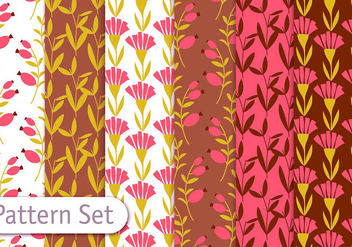 Retro Romantic Floral Pattern Set - vector gratuit #353111