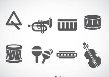 Music Instruments Gray Icons Vector - Kostenloses vector #353261