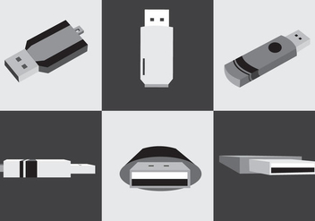 Black and White Pen Drive Vector - Free vector #353281