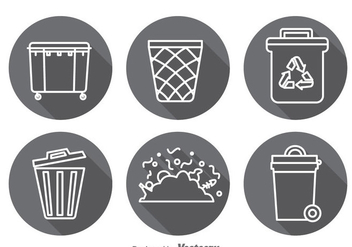 Garbage Long Shadow Icons Vector Sets - Kostenloses vector #353411