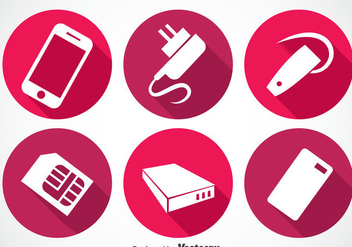 Phone Accessories Long Shadow Icon Vectors - vector gratuit #353501