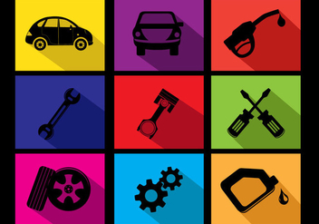 Flat Car Oil Change Icon Vectors - Free vector #353511